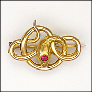 French Art Nouveau 18K Gold Filled Tourmaline Snake Pin - FIX