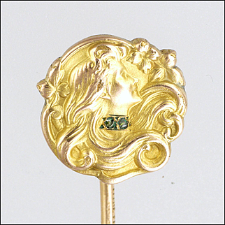 French Art Nouveau 18K Gold Filled Lady Stick Pin - TITRE FIXE