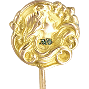 French Art Nouveau 18K Gold Filled Lady Stick Pin - TITRE FIXE