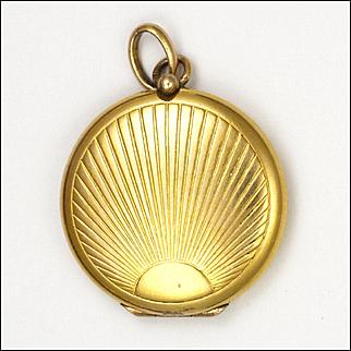 French Art Deco Gold Plated Small Locket - Sunburst Design
