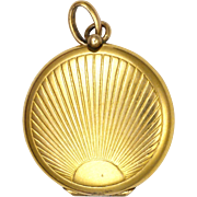 French Art Deco Gold Plated Small Locket - Sunburst Design