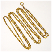 French Antique 'FIX' 18K Gold Filled Guard Chain - 52 inches