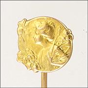 French Art Nouveau 18K Gold Filled FIX Lady Stick Pin - E DROPSY