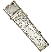 French Antique Silver Engraved Match or Needle Case