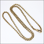 "Victorian 9K Gold Belcher Chain Necklace - 23½"" - 14 grms"