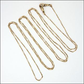 "Victorian 9K Gold Enlongated Links Guard Chain - 63"" - 14.9 grams"