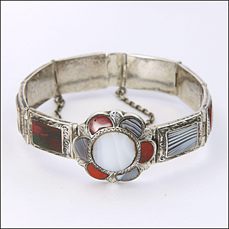 Victorian Scottish Sterling Silver and Agates Bracelet