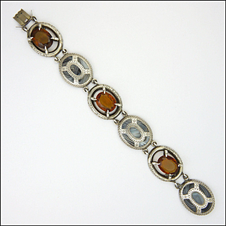 Victorian Scottish Blue Lace Agates and Cairngorms on Sterling Silver  Bracelet