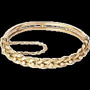 Edwardian 9K Gold Twisted Engraved Bangle