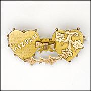 Victorian 9K Gold 'MIZPAH' Two Hearts Ivy Pin
