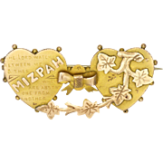 Victorian 9K Gold 'MIZPAH' Two Hearts Ivy Pin