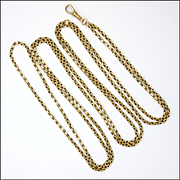 "Victorian 9K Gold Guard Chain - 58"" - 30.9 grams"