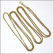 "Victorian 9K Gold Guard Chain - 58"" - 30.9 grams"
