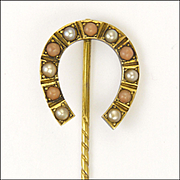 Antique Circa 1900 9K Gold Coral and Pearl Horseshoe Stick Pin - Boxed