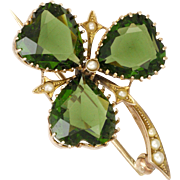 Edwardian 9K Gold Tourmaline Glass and Seed Pearls Shamrock Pin