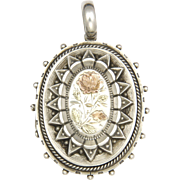 Victorian Sterling Silver Locket  with 9K Gold Overlaid Rose