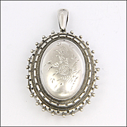 Victorian Sterling Silver Engraved Locket