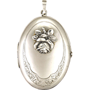 Victorian 800 Silver Sculpted Rose Locket - Probably German