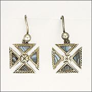 Victorian Scottish Blue Lace Agate Maltese Cross Earrings