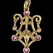 English Art Nouveau 9K Gold Pink Tourmaline Pendant