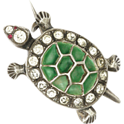 Sterling Silver Plique à Jour and Pastes Tortoise Pin - Circa 1910-1920