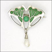 Art Nouveau German Jugendstil 800 Silver and Plique-à-Jour Pin