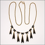 Art Deco 9K Gold and Natural Jet Drop Necklace