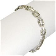 Art Deco 935  Silver & Pastes Cocktail Bracelet