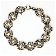 French Antique Silver and Rose Gold Bracelet