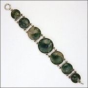 Scottish Circa 1910-1920 Moss Agate on Sterling Silver Bracelet