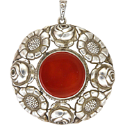 Arts and Crafts German Carnelian Agate Silver Flowers Pendant