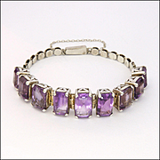 Sterling Silver and Natural  Amethyst Bracelet