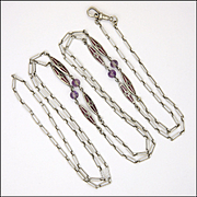 Scandinavian Art Deco Silver Enamel and  Amethyst Bead Guard Chain
