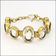 Natural Citrines Graduated on Silver Gilt Bracelet