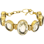 Natural Citrines Graduated on Silver Gilt Bracelet