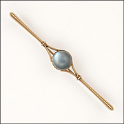 Art Deco 9K Gold and Moonstone Bar Pin