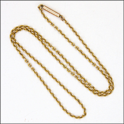 """Victorian 9K Gold Chain with Tubular Clasp - 16½"""" -5 Grams"""