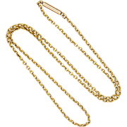 "Victorian 9K Gold Chain with Tubular Clasp - 16½"" -5 Grams"