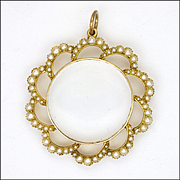 Late Edwardian 15K Gold and Seed Pearl Pendant Locket