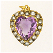 Edwardian 9K Gold and Amethyst Pearl Heart Pendant