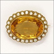 English Circa 1910 15K Gold Citrine and Seed Pearls PIn