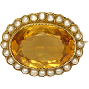 English Circa 1910 15K Gold Citrine and Seed Pearls PIn