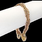 English Edwardian 9K Gold Gate Bracelet - Heart Padlock - W.H.Wilmot - 22.8 Grams