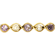 Arts& Crafts 14K Gold Amethyst & Pearl Pin