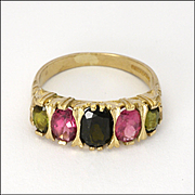 English 9K Gold Tourmalines Ring