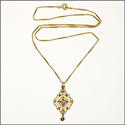 Arts and Crafts 9K Gold and Amethyst Pendant with Decorative 9K Chain