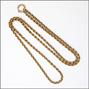 "Antique 9K Rose Gold Woven Link Chain -21"" - 8.9 grams"
