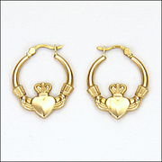 9K Gold Irish Claddagh Earrings - Pierced Ears