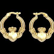 9K Gold Irish Claddagh Earrings - Pierced Ears
