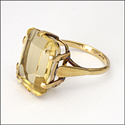 English 9K Gold and Pale Citrine Ring